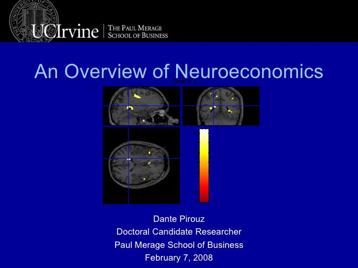 An Overview of Neuroeconomics Dante Pirouz Doctoral Candidate Researcher Paul Merage School of Business February 7, 2008 T...