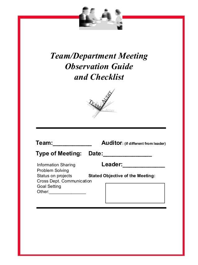 Assessing Team Meeting Effectiveness