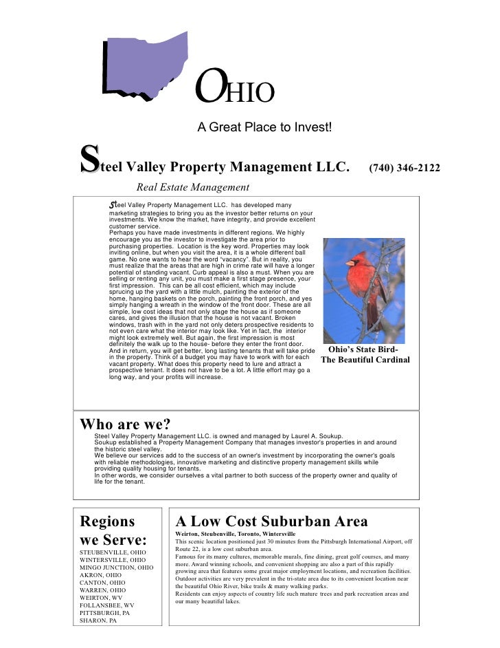OHIO                                          A Great Place to Invest!   S    teel Valley Property Management LLC.        ...