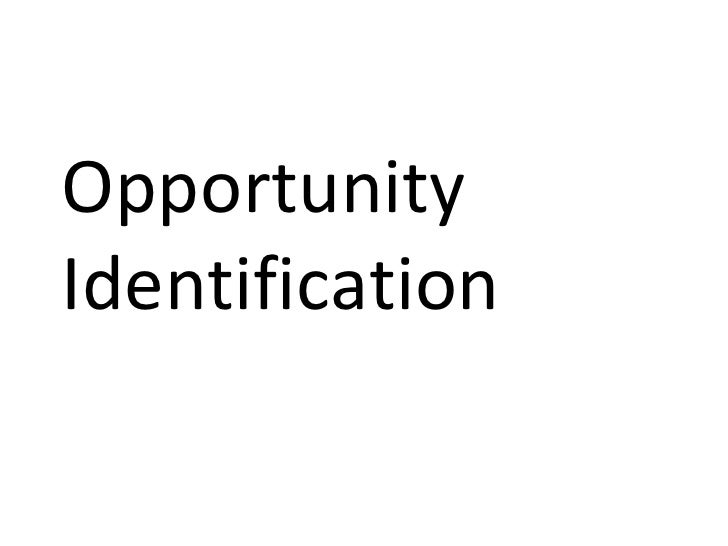 Entrepreneurial opportunity Identification - MBA Class 2009 Presentation