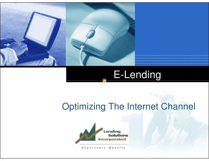 E-Lending   Optimizing The Internet Channel        Company       LOGO
