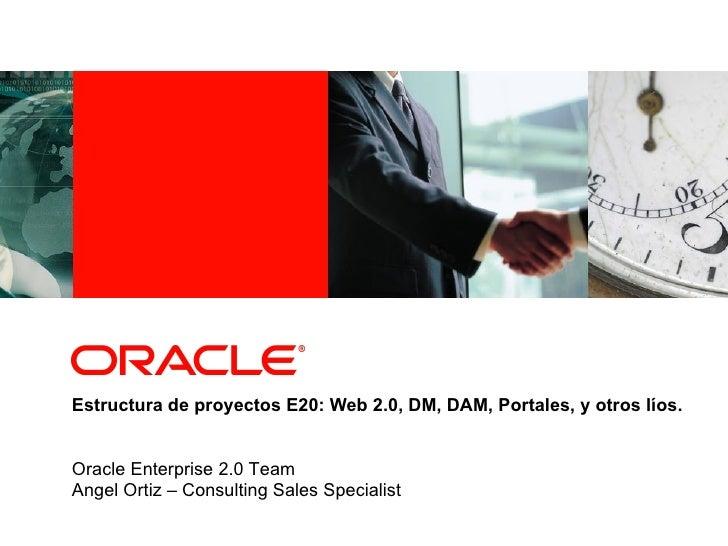 Estructura de proyectos E20: Web 2.0, DM, DAM, Portales, y otros líos. Oracle Enterprise 2.0 Team Angel Ortiz – Consulting...