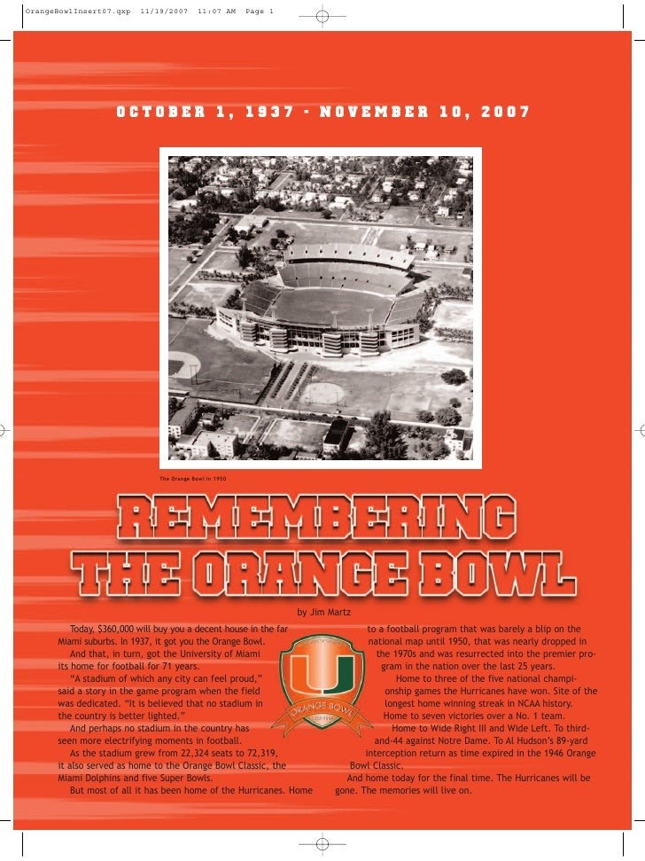 Remembering the Orange Bowl 2007 Football Program insert
