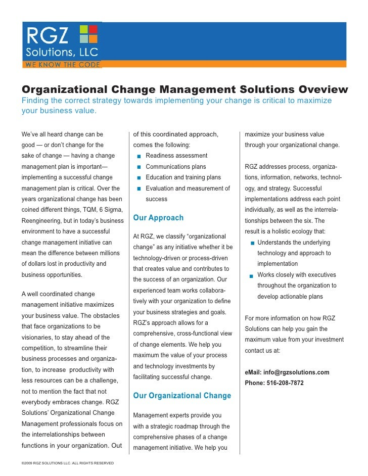 organizational change is not suce