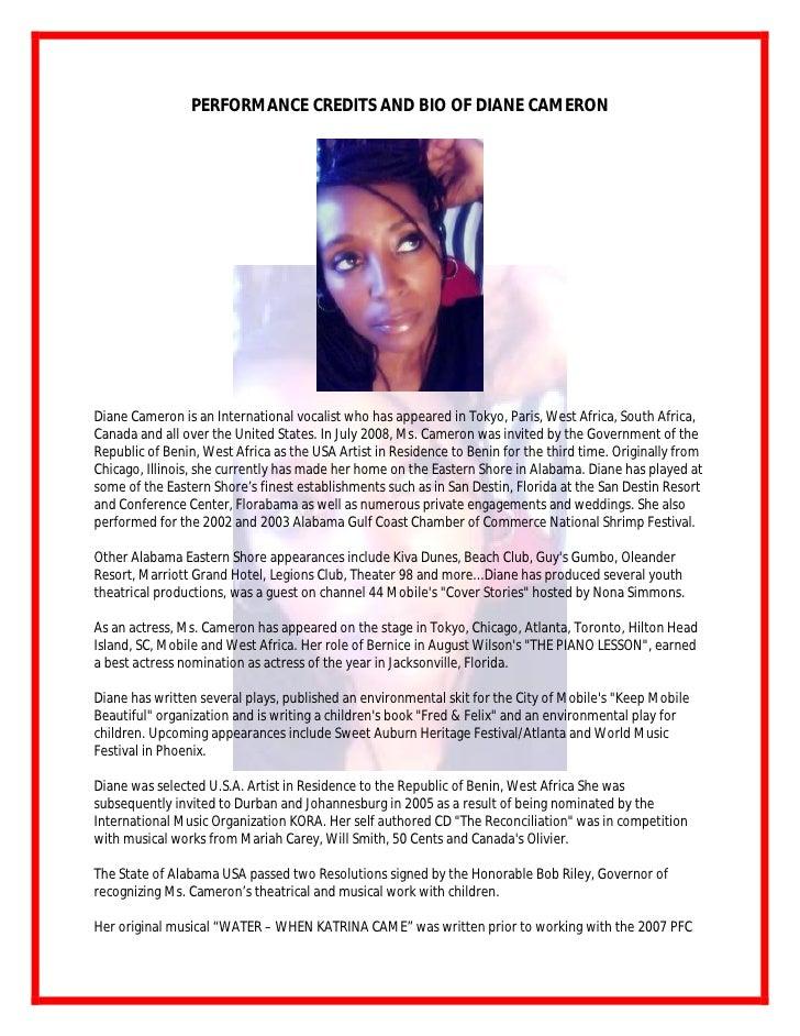 Performance Credits And Bio Of Diane Cameron 122008
