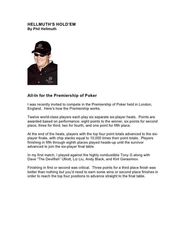 Phil Hellmuth -- Syndicated Poker Column for Newspapers