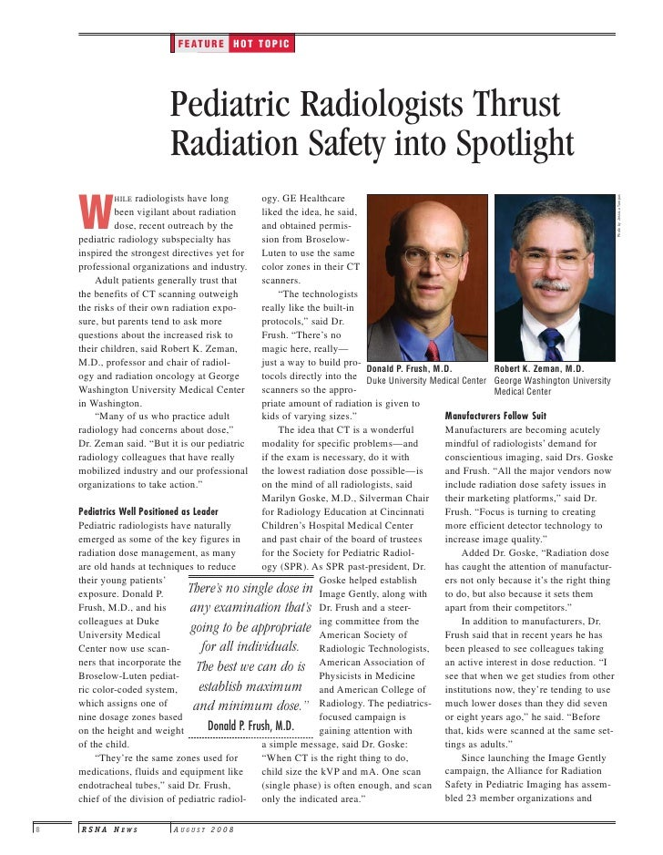 FEATURE HOT TOPIC                               Pediatric Radiologists Thrust                           Radiation Safety i...