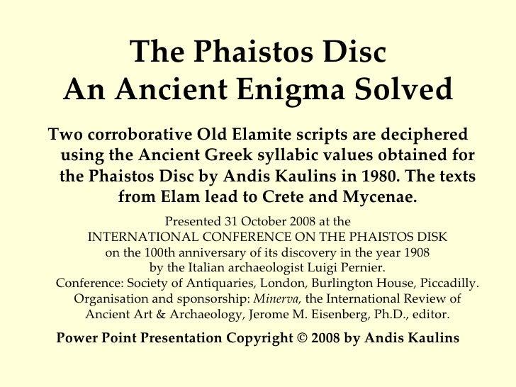 Phaistos Disc And Elamite 30 October 2008