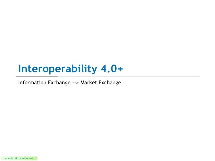 Interoperability 4.0+ Information Exchange --> Market Exchange [email_address]