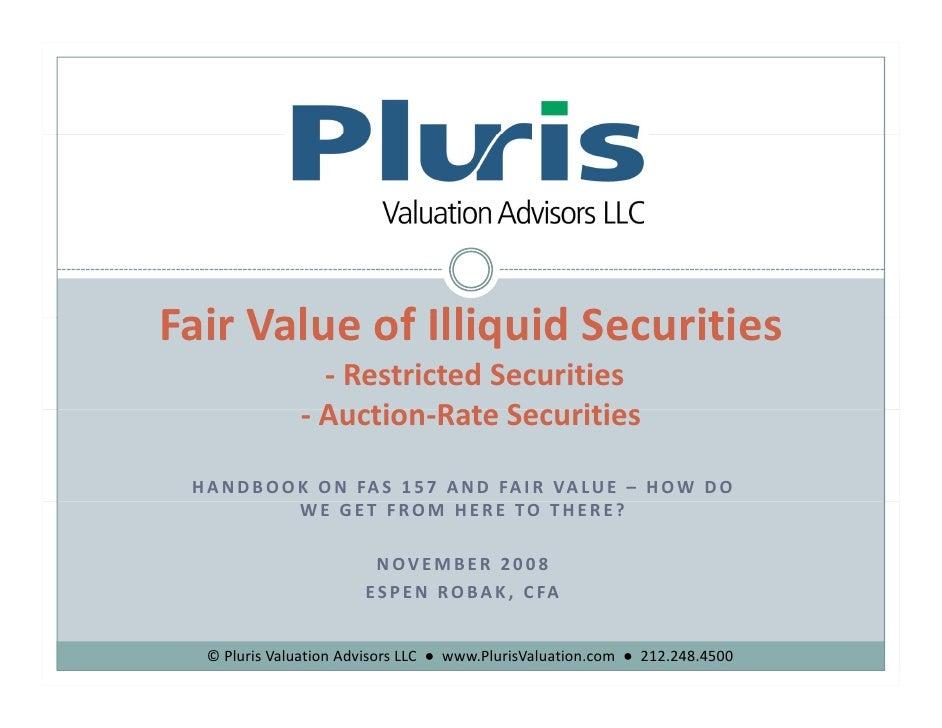Pluris FAS 157 Handbook November 2008