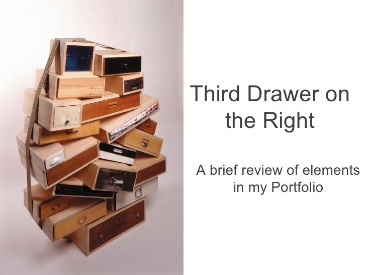 A brief review of elements in my Portfolio Third Drawer on the Right