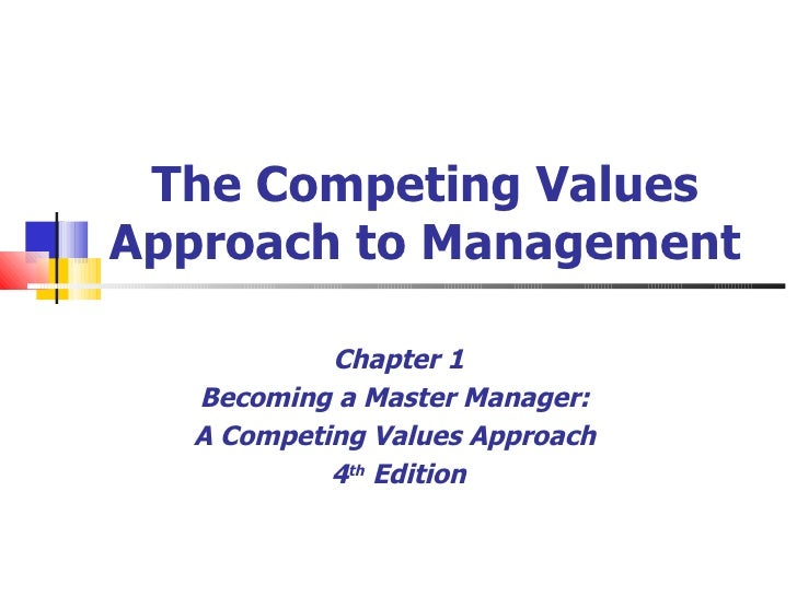 The Competing Values Approach to Management Chapter 1 Becoming a Master Manager:  A Competing Values Approach  4 th  Edition