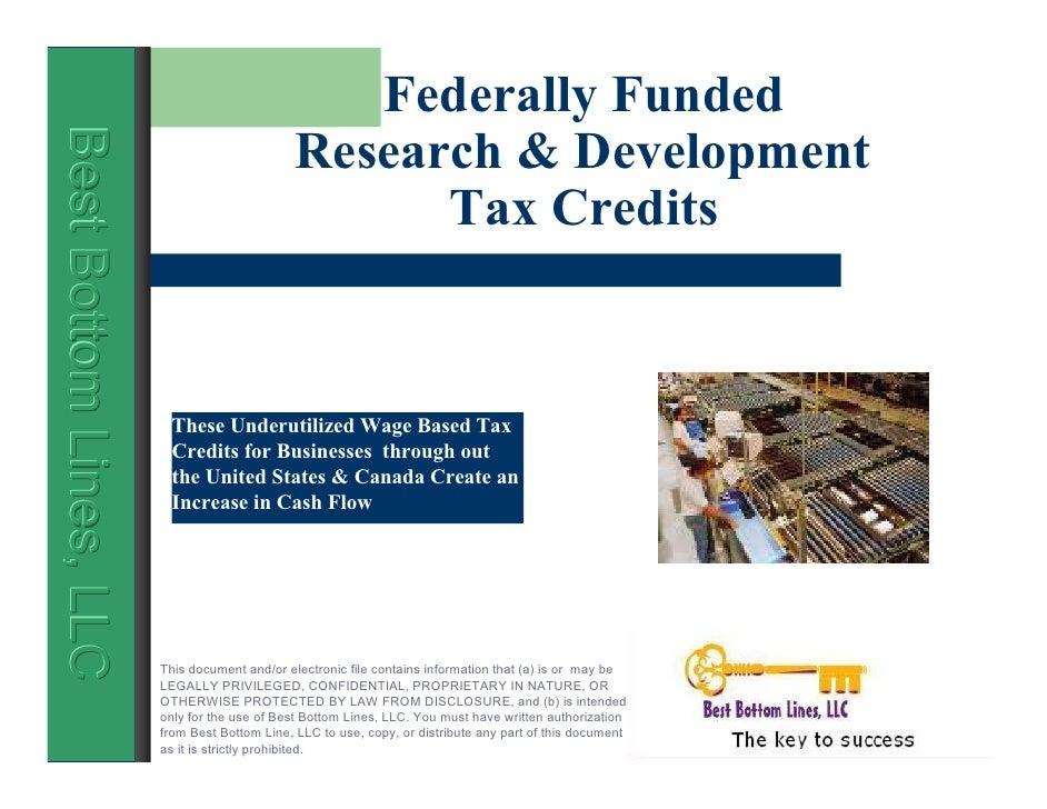 Federally Funded                                                 Research & Development Best Bottom Lines, LLC Best Bottom...