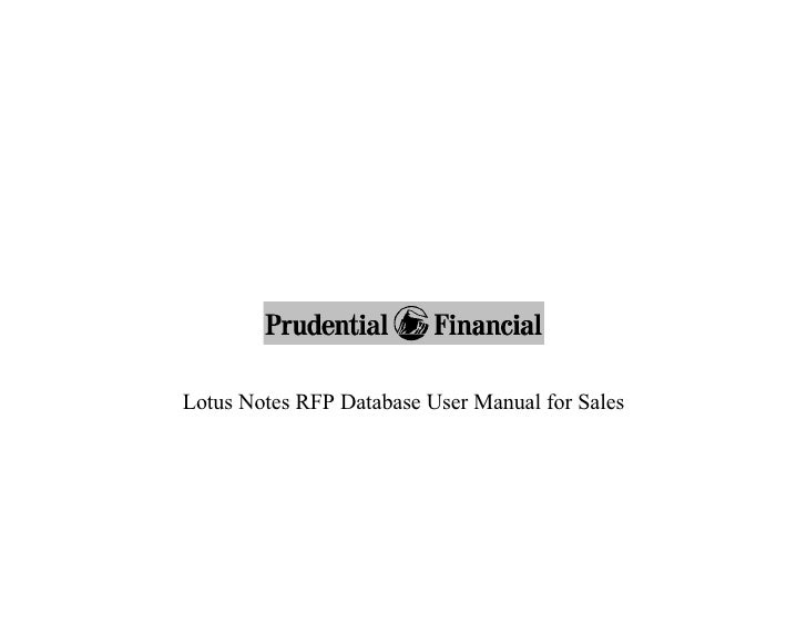 Lotus Notes RFP Database User Manual for Sales