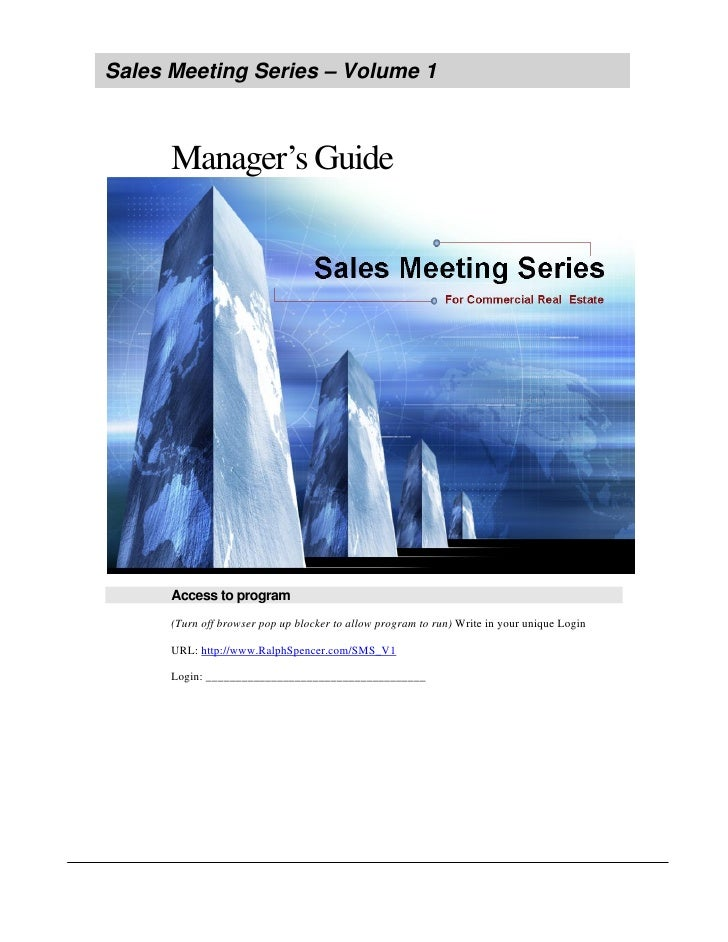 Sales Meeting Series – Volume 1          Manager's Guide           Access to program       (Turn off browser pop up blocke...