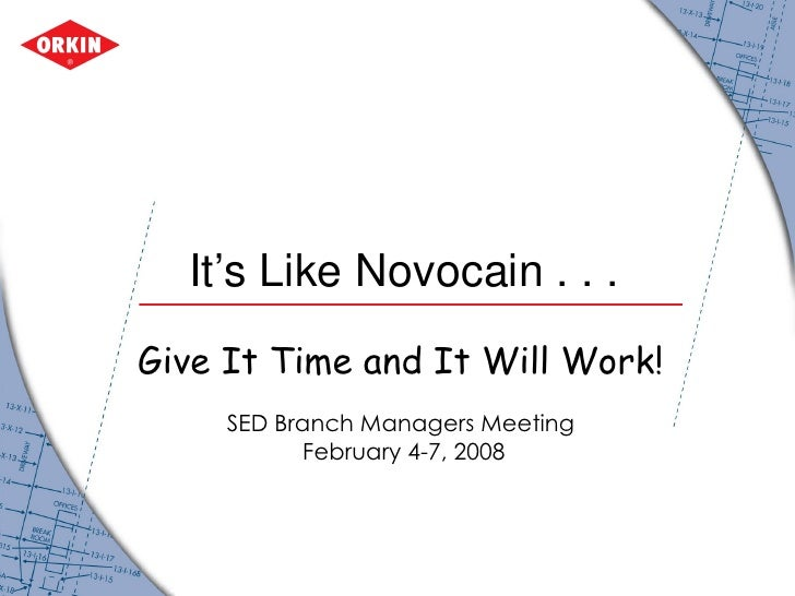 It's Like Novocain . . .  Give It Time and It Will Work!   SED Branch Managers Meeting  February 4-7, 2008