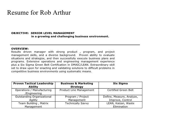 Resume for Rob Arthur