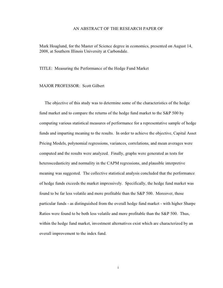 AN ABSTRACT OF THE RESEARCH PAPER OF   Mark Hoaglund, for the Master of Science degree in economics, presented on August 1...