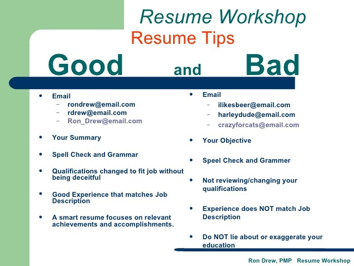 good and bad resume examples