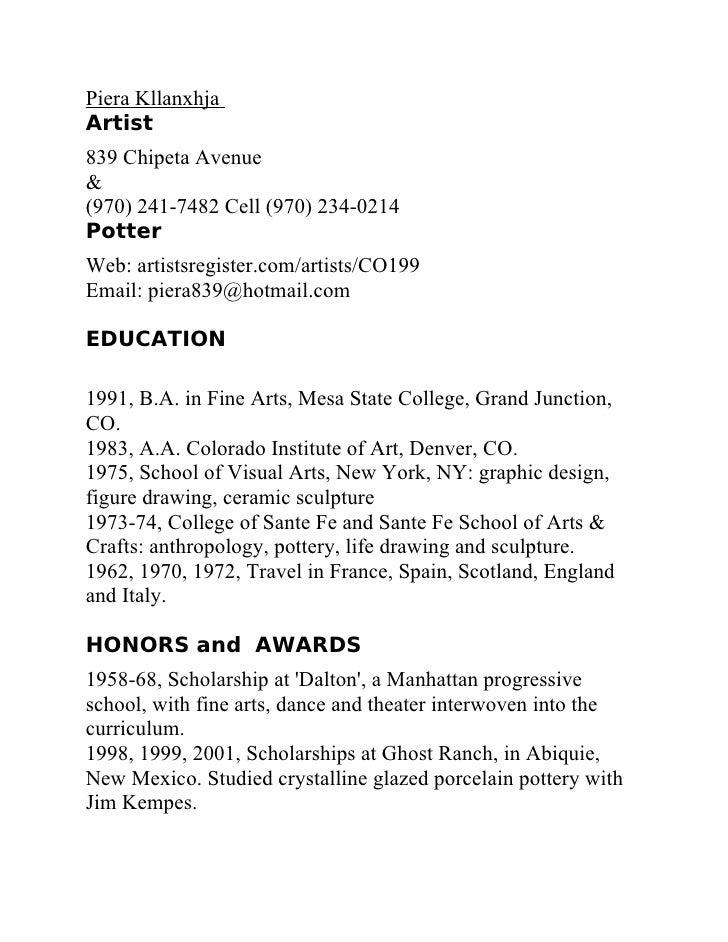 Piera Kllanxhja Artist 839 Chipeta Avenue & (970) 241-7482 Cell (970) 234-0214 Potter Web: artistsregister.com/artists/CO1...