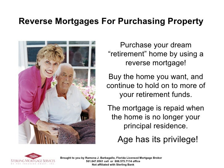 """<ul><li>Age has its privilege! </li></ul>Purchase your dream """"retirement"""" home by using a reverse mortgage! Buy the home y..."""