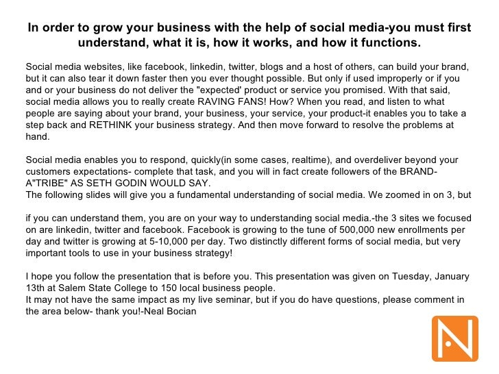 Salem State JanHOW TO USE SOCIAL MEDIA TO GROW YOUR BUSINESS