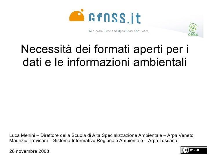 Necessità dei formati aperti per i dati e le informazioni ambientali