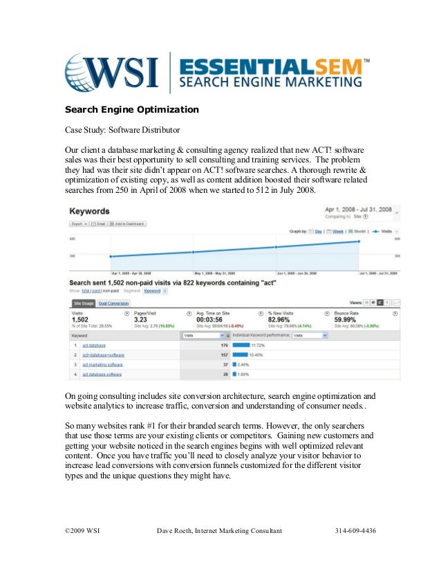 Search Engine Optimization Case Study: Software Distributor Our client a database marketing & consulting agency realized t...