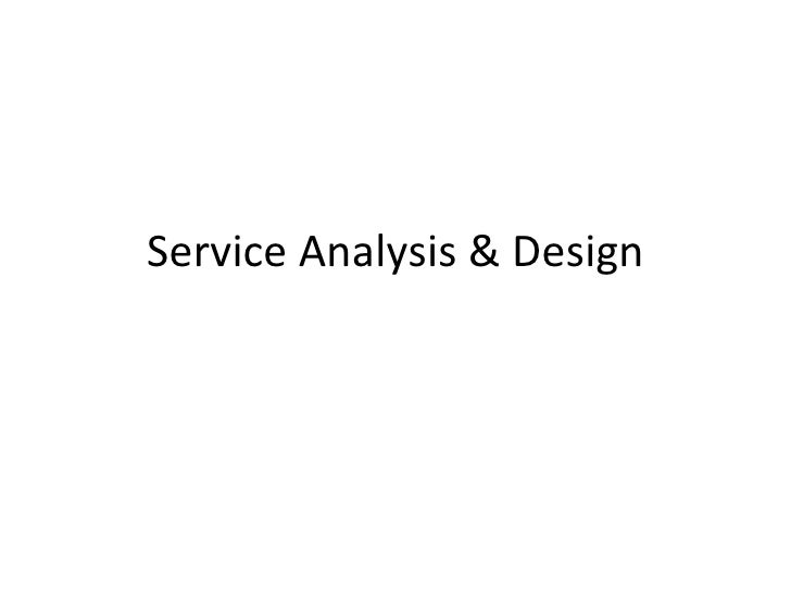 Service Analysis And Design