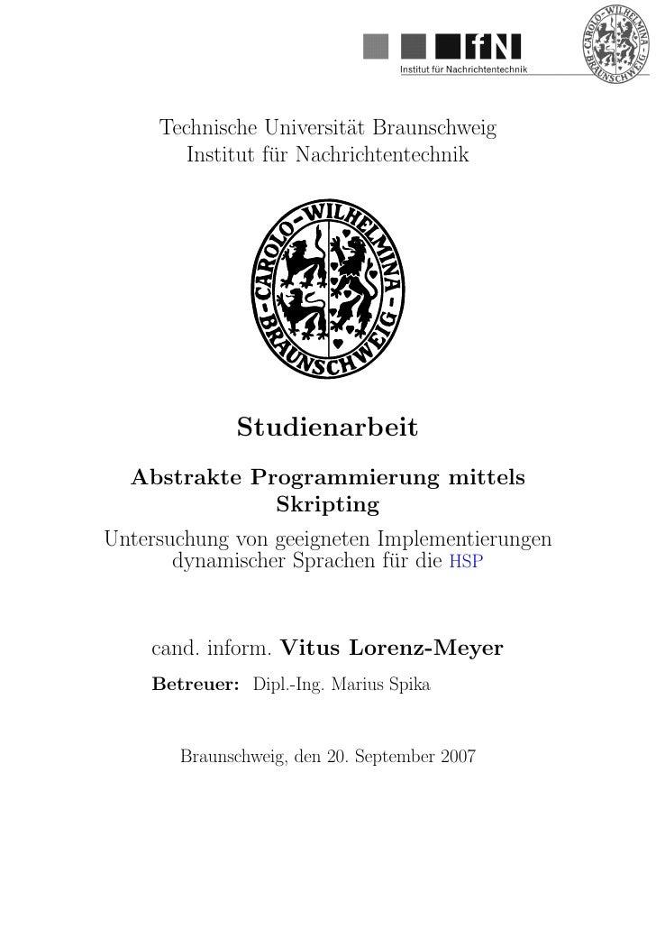 Technische Universit¨t Braunschweig                           a         Institut fur Nachrichtentechnik                   ...
