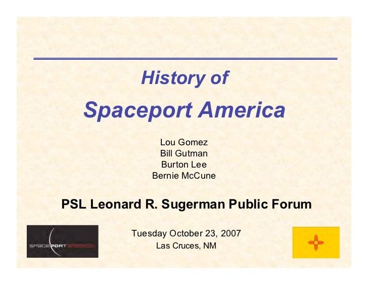 History of    Spaceport America                Lou Gomez                Bill Gutman                 Burton Lee            ...