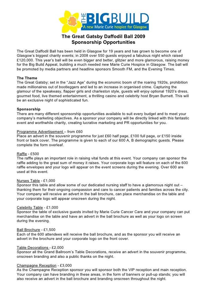 The Great Gatsby Daffodil Ball 2009                               Sponsorship Opportunities The Great Daffodil Ball has be...