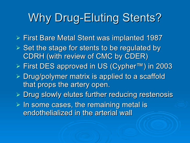 second generation drug eluting stents essay For patients with diabetes mellitus (dm), the second-generation everolimus-eluting stent (ees) appears to be safer than two first-generation stents, the sirolimus-eluting stent (ses) and the paclitaxel-eluting stent (pes.