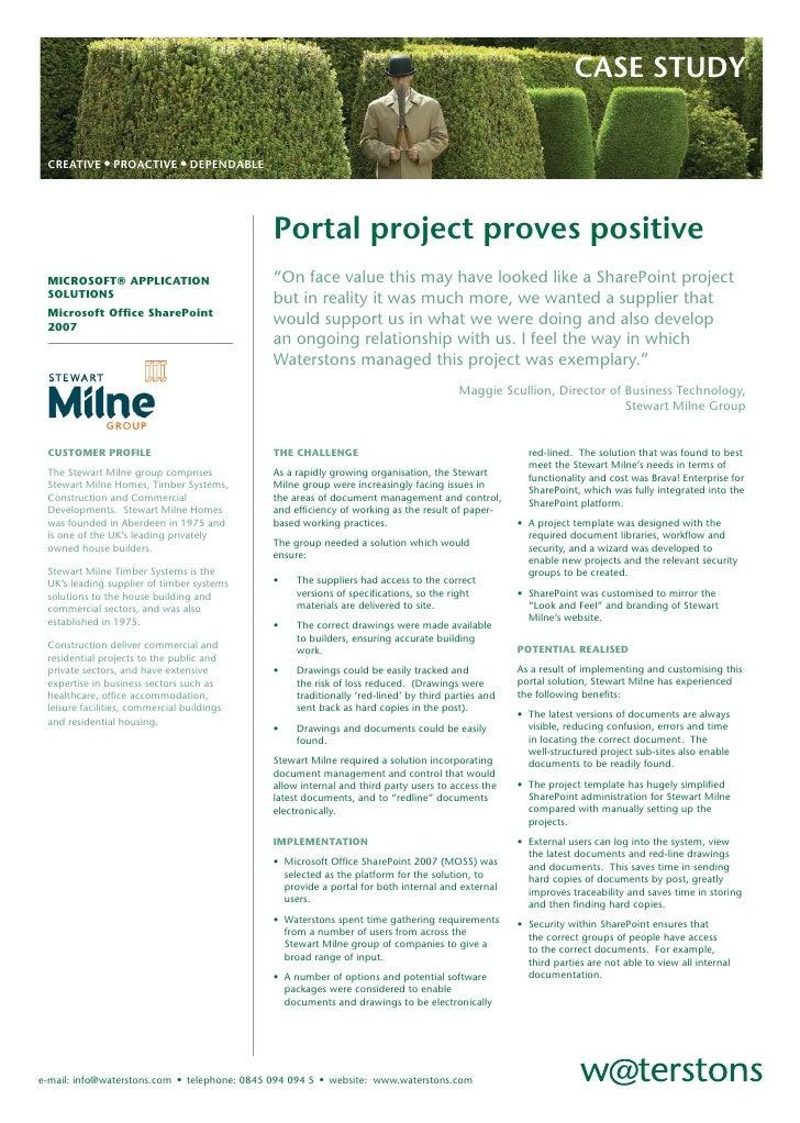 CASE STUDY    CREATIVE • PROACTIVE • DEPENDABLE                                                     Portal project proves ...