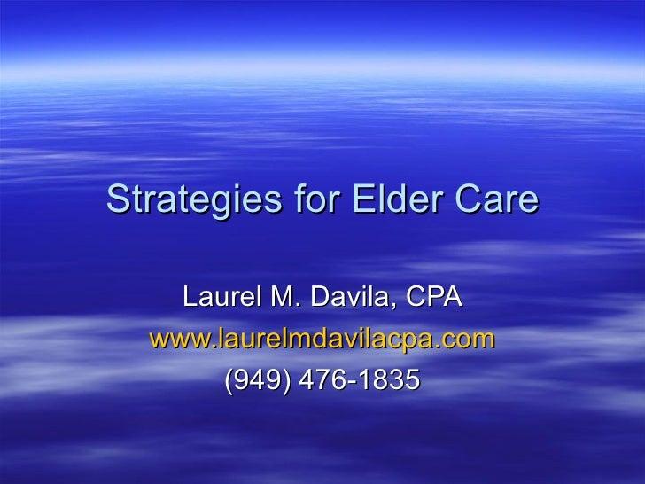 Strategies For Elder Care