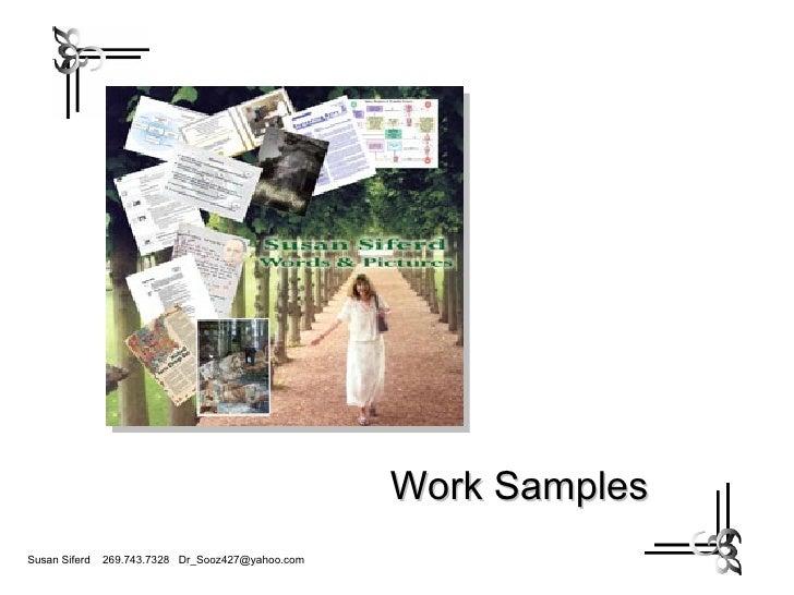 Susan Siferd Work Samples