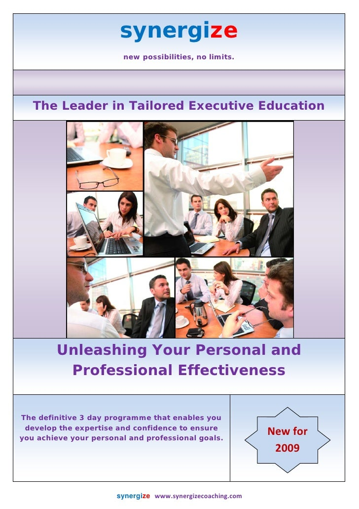 synergize                               new possibilities, no limits.               The Leader in Tailored Executive Educa...