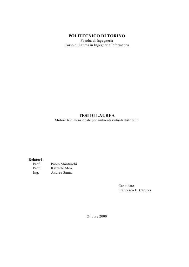 POLITECNICO DI TORINO                              Facoltà di Ingegneria                    Corso di Laurea in Ingegneria ...
