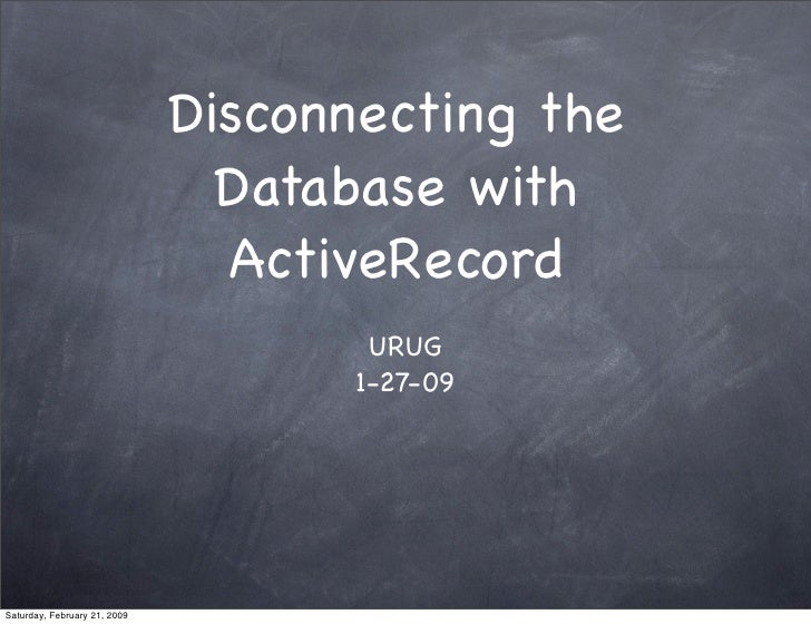 Disconnecting the                                 Database with                                 ActiveRecord              ...