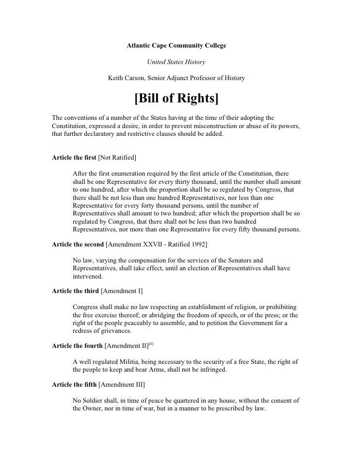 The Bill Of Rights (Us)