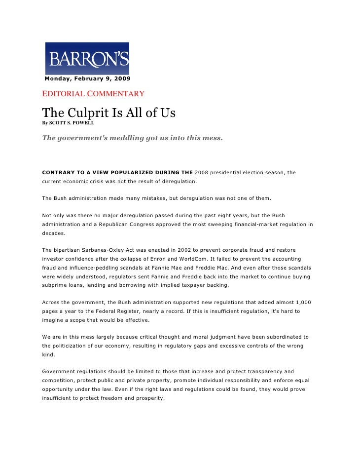 The Culprit Is All Of Us  By Ss Powell Barrons