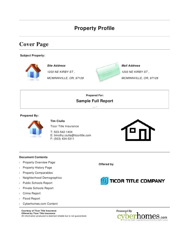 Property Profile   Cover Page Subject Property:                                Site Address                               ...