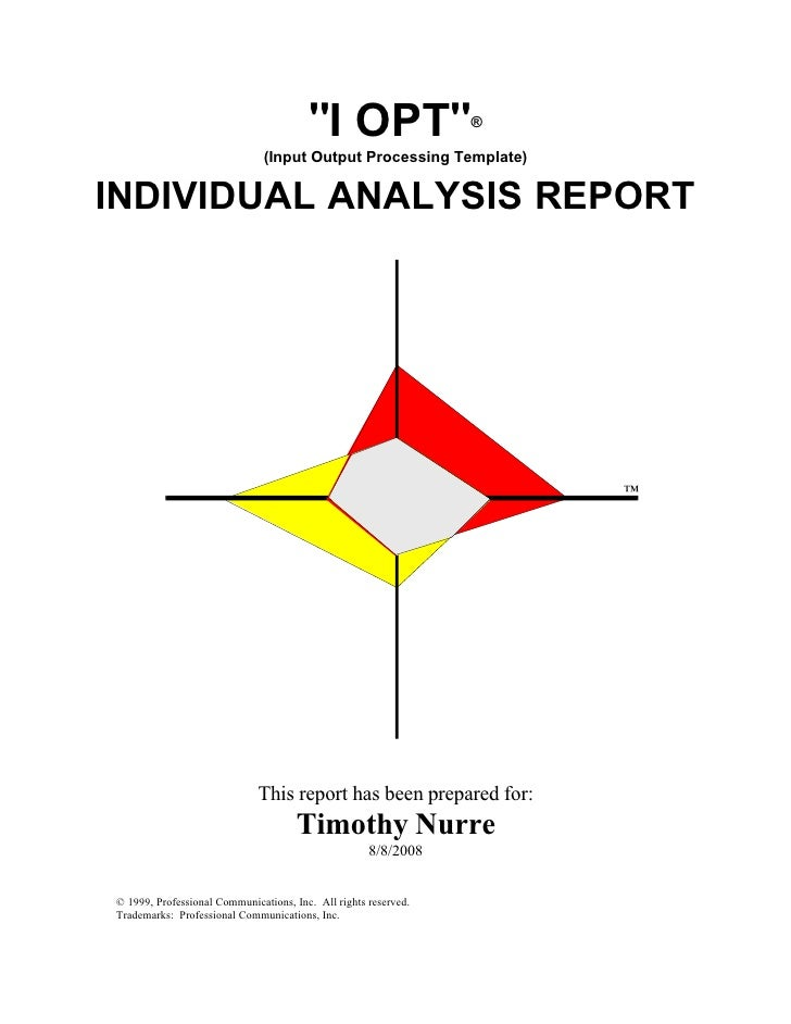I-Opt Report: Professional personality report