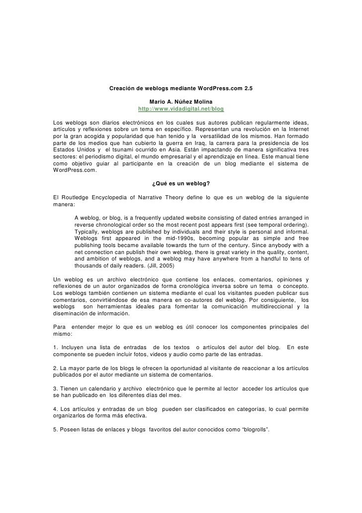 Creación de weblogs mediante WordPress.com 2.5                                      Mario A. Núñez Molina                 ...