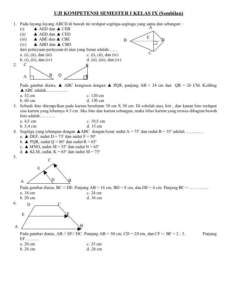 Soal Matematika Semester I Kelas Ix