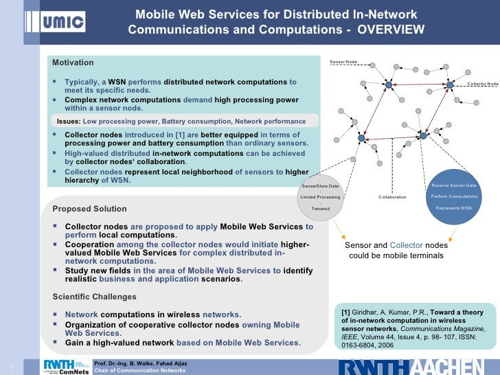 Mobile Web Services for Distributed In-Network Communications and Computations -  OVERVIEW <ul><li>Motivation </li></ul><u...