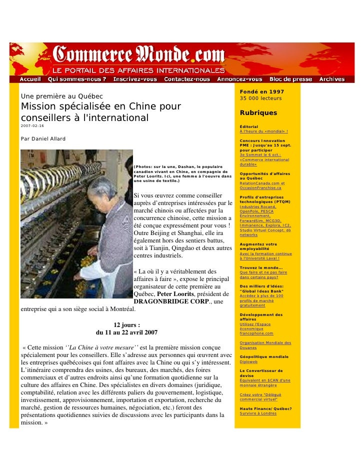 article CommerceMonde mission Chine de Dragonbridge