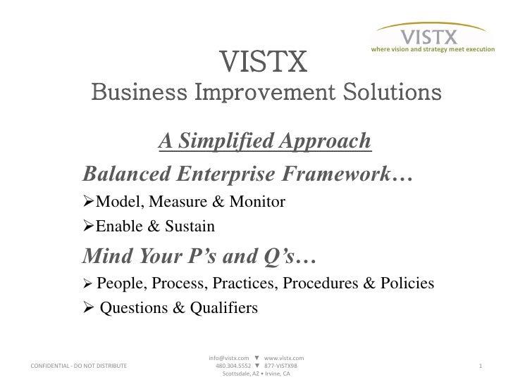 where vision and strategy meet execution                                        VISTX                     Business Improve...