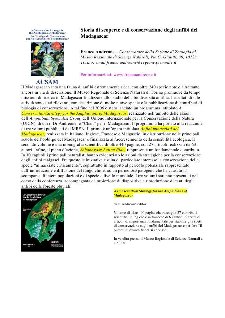 Storia di scoperte e di conservazione degli anfibi del                                   Madagascar                       ...