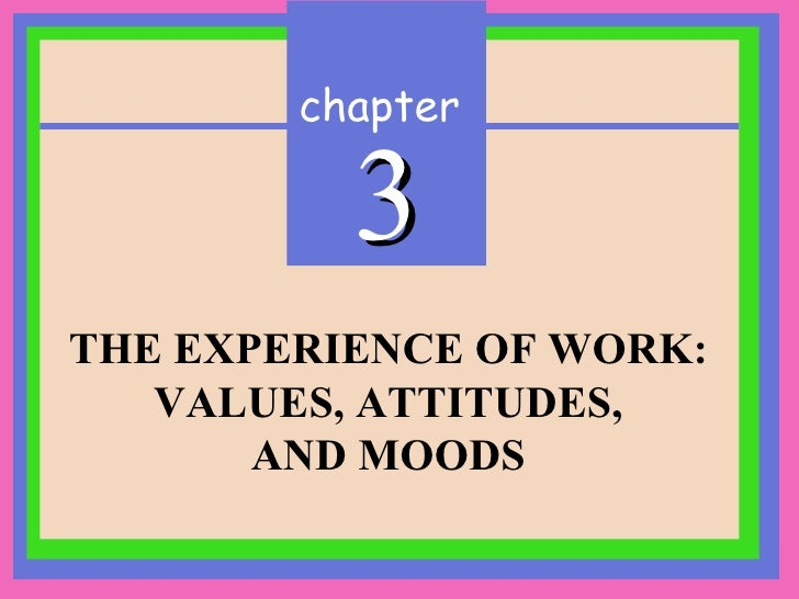 chapter 3 THE EXPERIENCE OF WORK: VALUES, ATTITUDES, AND MOODS